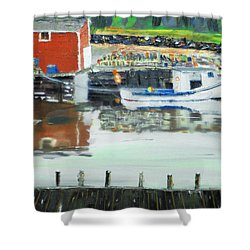 Boat At Louisburg Ns Shower Curtain