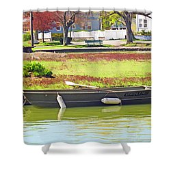 Boat At The Pond Shower Curtain by Barbara McDevitt