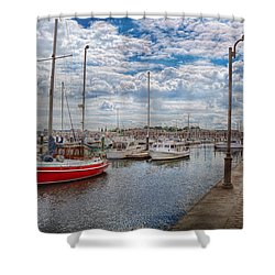 Boat - Baltimore Md - One Fine Day In Baltimore  Shower Curtain by Mike Savad