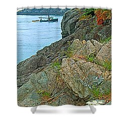 Boat By East Quoddy Bay On Campobello Island-nb Shower Curtain