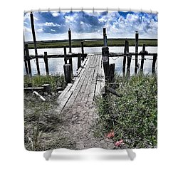 Boat Dock With Gulls Shower Curtain by Patricia Greer