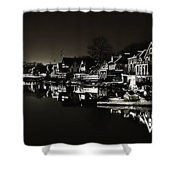 Boat House Row - In The Dark Of Night Shower Curtain by Bill Cannon