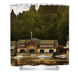 Boat House Row Shower Curtain by Trish Tritz