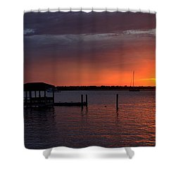 Boat House Sunset  Shower Curtain