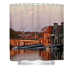 Boat Houses At Dawn Shower Curtain