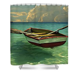 Boat In Clear Water Shower Curtain