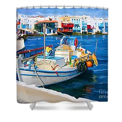 Boat In Greece Shower Curtain