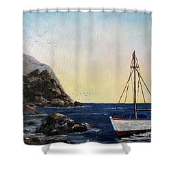 Boat In Maine Shower Curtain by Lee Piper