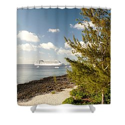 Shower Curtain featuring the photograph Boat In Port by Amar Sheow