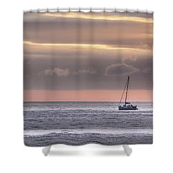 Boat Mooring Off Nairn Beach Shower Curtain