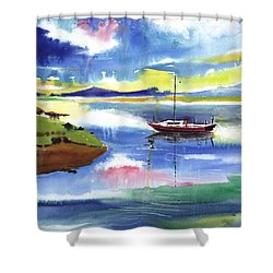 Boat N Colors Shower Curtain by Anil Nene