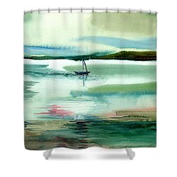 Boat N Creek Shower Curtain by Anil Nene