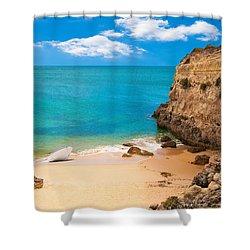 Boat On Beach Algarve Portugal Shower Curtain by Amanda Elwell