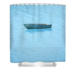 Boat On Blue Lake Shower Curtain by Pixel Chimp