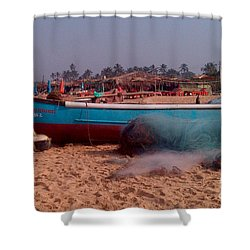 Boat On Calungute Beach Shower Curtain