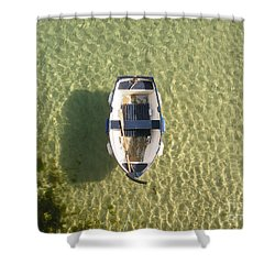 Boat On Ocean Shower Curtain by Pixel Chimp