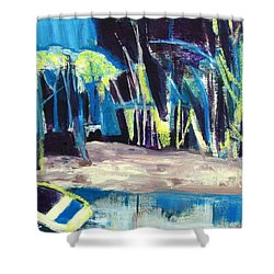 Boat On Shore Line With Trees On Land Shower Curtain