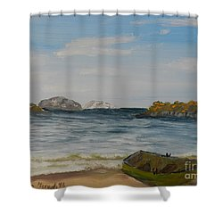 Boat On The Beach Shower Curtain