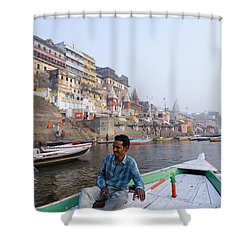 Boat On The River Ganges At Varanasi In India Shower Curtain by Robert Preston