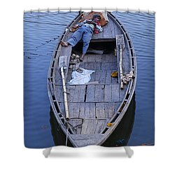 Boat On The River Ganges At Varanasi Shower Curtain by Robert Preston