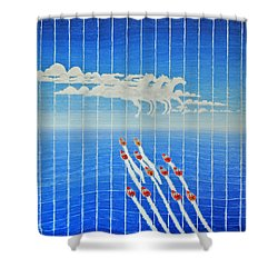 Boat Race Horse Clouds Shower Curtain