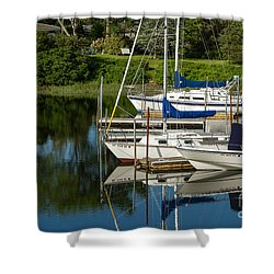 Shower Curtain featuring the photograph Boat Reflections In Cape Cod Hen Cove by Eleanor Abramson