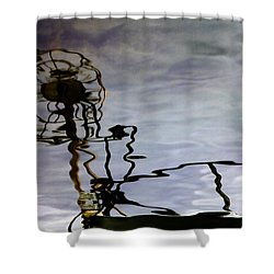 Boat Reflections Shower Curtain by Stelios Kleanthous
