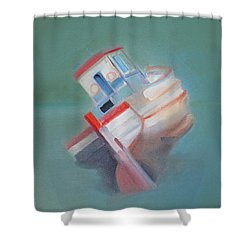 Shower Curtain featuring the painting Boat Retired  Tavira by Charles Stuart