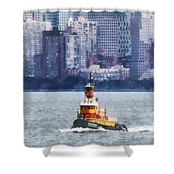 Boat - Tugboat By Manhattan Skyline Shower Curtain