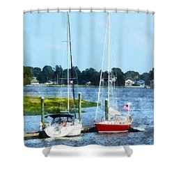Boat - Two Docked Sailboats Norwalk Ct Shower Curtain by Susan Savad