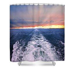 Boat Wake On Georgian Bay  Shower Curtain by Elena Elisseeva