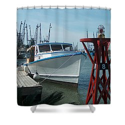 Boat With Light Buoy By Jan Marvin Shower Curtain