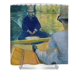 Boaters On The Yerres Shower Curtain by Gustave Caillebotte
