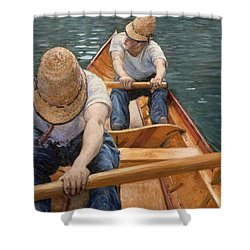 Boaters Rowing On The Yerres Shower Curtain by Gustave Caillebotte