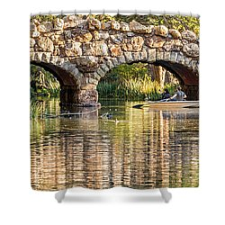 Shower Curtain featuring the photograph Boaters Under The Bridge by Kate Brown