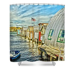 Boathouse Alley Shower Curtain by William Norton