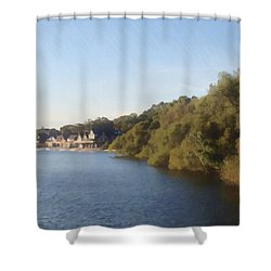 Shower Curtain featuring the photograph Boathouse by Photographic Arts And Design Studio