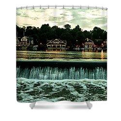 Boathouse Row And Fairmount Dam Shower Curtain by Bill Cannon