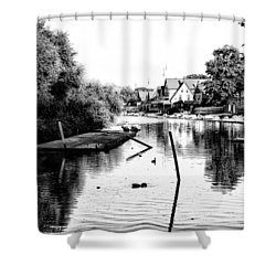 Boathouse Row Lagoon In Black And White Shower Curtain by Bill Cannon