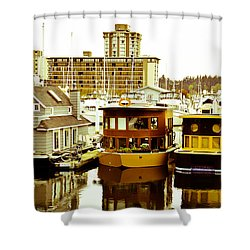 Shower Curtain featuring the photograph Boathouses by Eti Reid