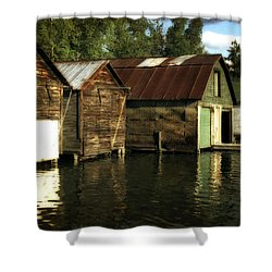 Boathouses On The River Shower Curtain by Michelle Calkins