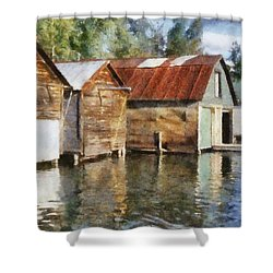 Boathouses On The Torch River Ll Shower Curtain by Michelle Calkins