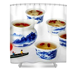 Boating Among China Tea Cups Little People On Food Shower Curtain by Paul Ge