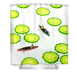 Boating Among Cucumber Slices Miniature Art Shower Curtain
