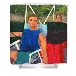 Shower Curtain featuring the painting Boating by Donald J Ryker III