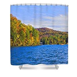 Boating In Autumn Shower Curtain by Susan Leggett