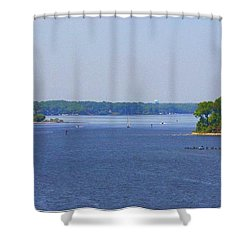 Boating On The Severn River Shower Curtain by Patti Whitten
