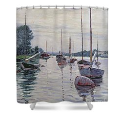 Boats Anchored On The Seine Shower Curtain by Gustave Caillebotte
