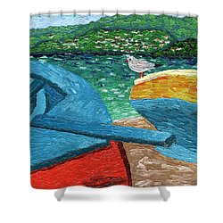 Boats And Bird At Rest Shower Curtain by Laura Forde