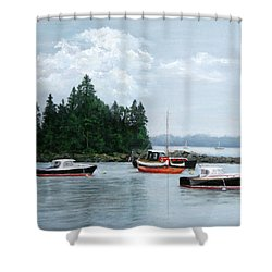 Boats At Bar Harbor Shower Curtain
